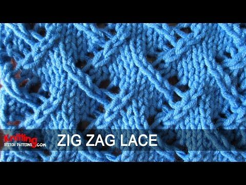 Zig Zag Lace #2 | Knitting Stitch Patterns - relatively simple, even repeat - video as well as printed  instructions