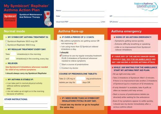 asthma care plan template - 341 smart asthma action plan rapihaler o medicine