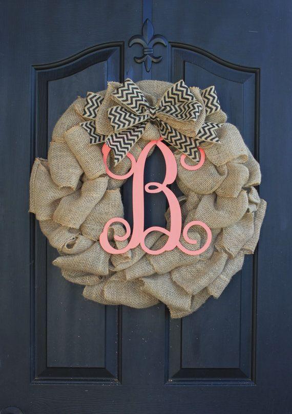 Burlap Wreath - Etsy Wreath - Summer wreaths for door - Door Wreath - Monogram wreath on Etsy, $85.00