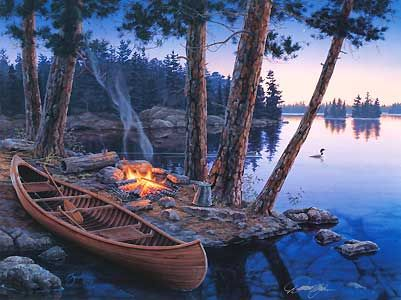 Camping Paintings - - Summer's Song sports and leisure camping lithograph on canvas artist proof Darre