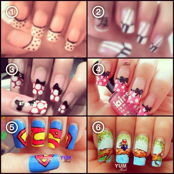 """@yum_nails's photo: """"Tagged by the lovely @badluckbarbie for my #nailtimelines. 1⃣ I began nail art the January 2009, I was 13 years old. I used the pen and brush of Claire's for the first time. 2⃣ I tried a Asian nail art and the chinese sign means """"Love"""". 3⃣ When I fell in love on the nail art, I searched on YouTube several tutorials and I found Minnie tutorial. I tried to do it but it was so ugly, bows were strange. XD I was 14 yo.  4⃣ There is a different between 3⃣ and 4⃣ because I…"""