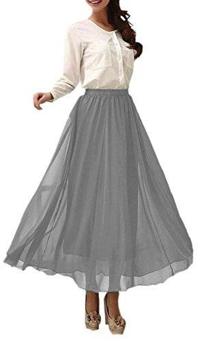 79963256cd Afibi Womens Chiffon Retro Long Maxi Skirt Vintage Dress | Juniper ...