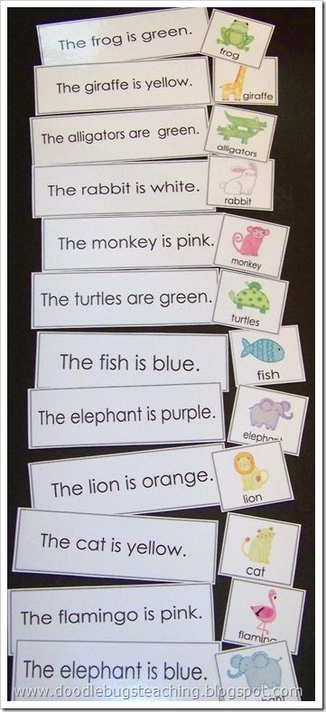Matching a sentence to a picture. Will probably do these together to model but then they will be put in a pocket chart basket for my students to do independently.