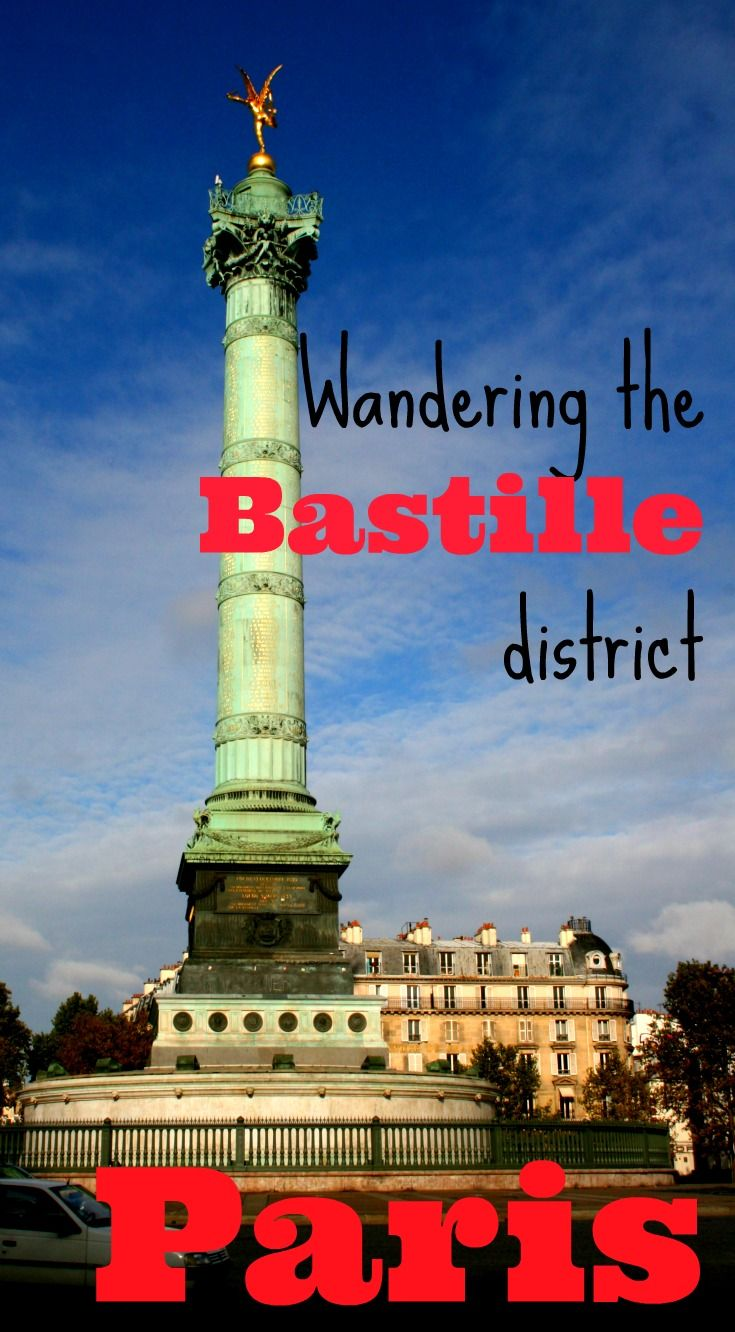 The Bastille area spreads out into three Paris arrondissements (the 4th, the 11th and the 12th) and it has centuries of history and decades of trendsetting to recommend it. Exploring Bastille is an opportunity to get to know Paris, maybe even indulge in a fantasy of living there for awhile:  http://www.worldwanderingkiwi.com/2012/08/things-to-do-in-paris-bastille/