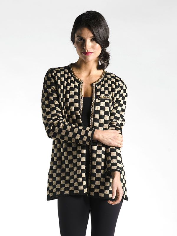Couture Coat with Chain Detail in Check