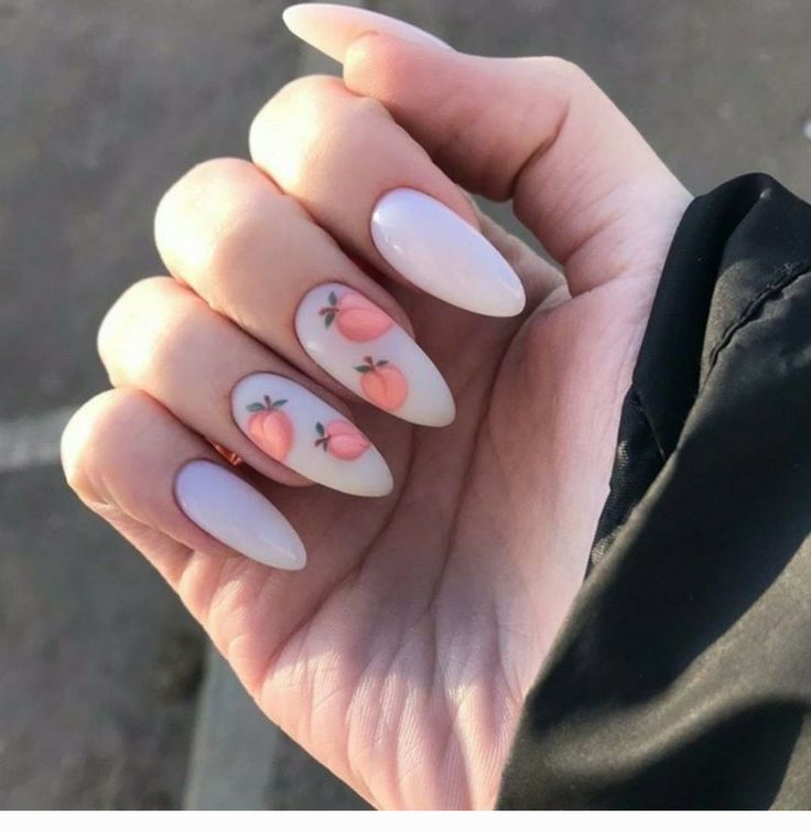 Cute fruits on white nails - CoolLadies.net
