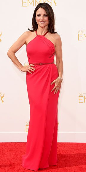 Julia Louis-Dreyfus looks striking in custom Carolina Herrera.