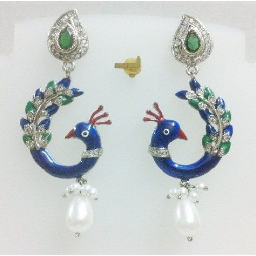 EXTRAVAGANT COLORFUL PEACOCK DESIGNED WHITE PEARL DROPS CZ SIMULATED EARRINGS