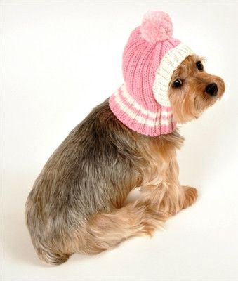 Side view of Hip Doggie Crown Rib Knit Hat w/PomPom for Dogs in color Pink