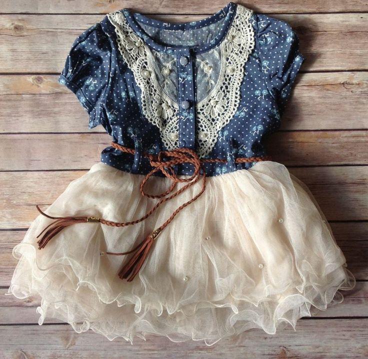 Girls Denim Dress 1T/2T Girls Cowgirl Toddler Western Denim Props