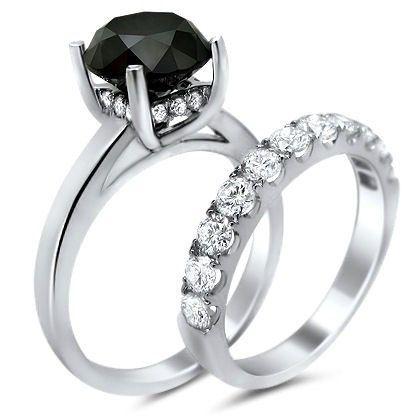 5 0ct Black Diamond Engagement Ring Bridal Set 14k White Gold - http://blackdiamond-rings.com/5-0ct-black-diamond-engagement-ring-bridal-set-14k-white-gold/