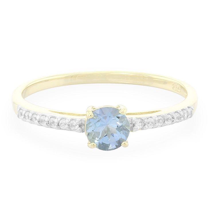 Bague de fiançailles en or sertie d'une Aigue-Marine Santa Teresa - Réf 5851AR - Bijoux de mariage bleu ciel - Juwelo bijouterie en ligne