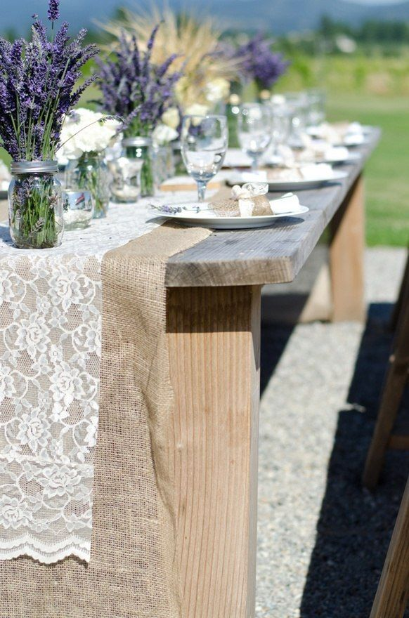 Lace and burlap wedding ideas- I also like the lavender centerpieces