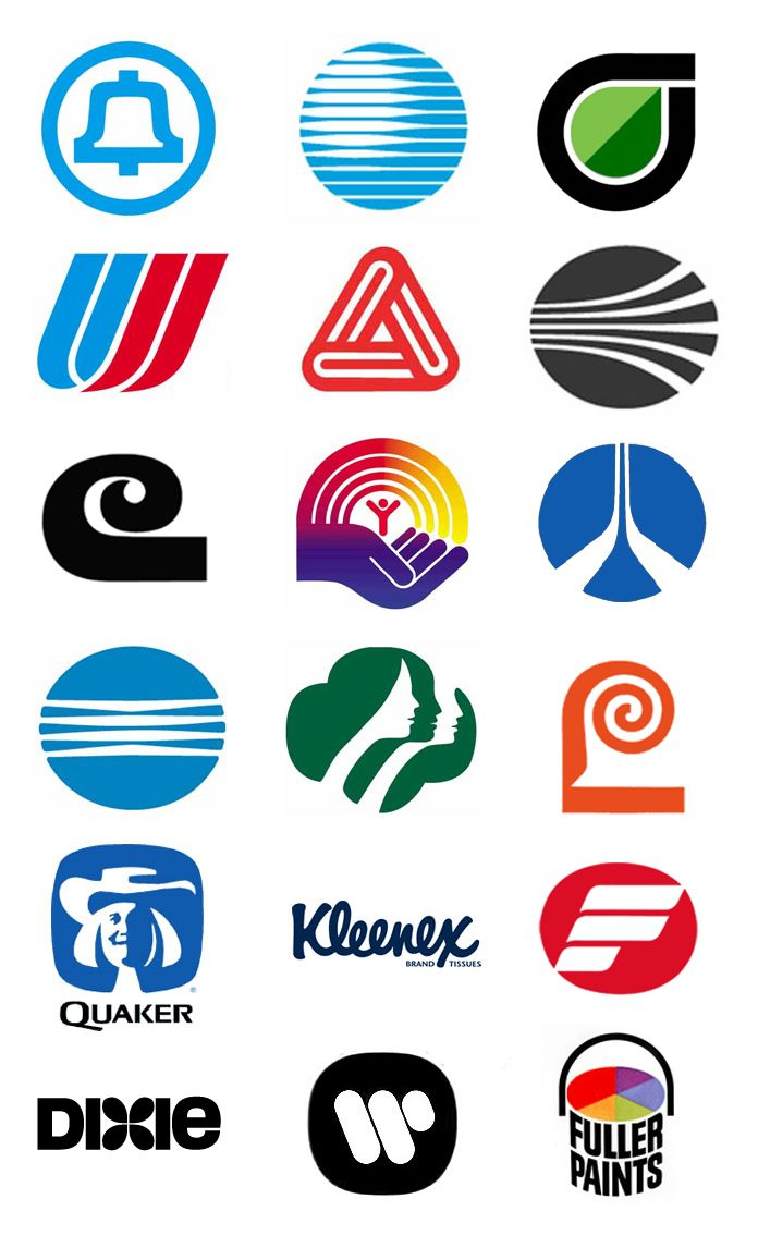 Some memorable Saul Bass logos, many still in use today. United Way, Minolta, Kleenex, Dixie Cup...