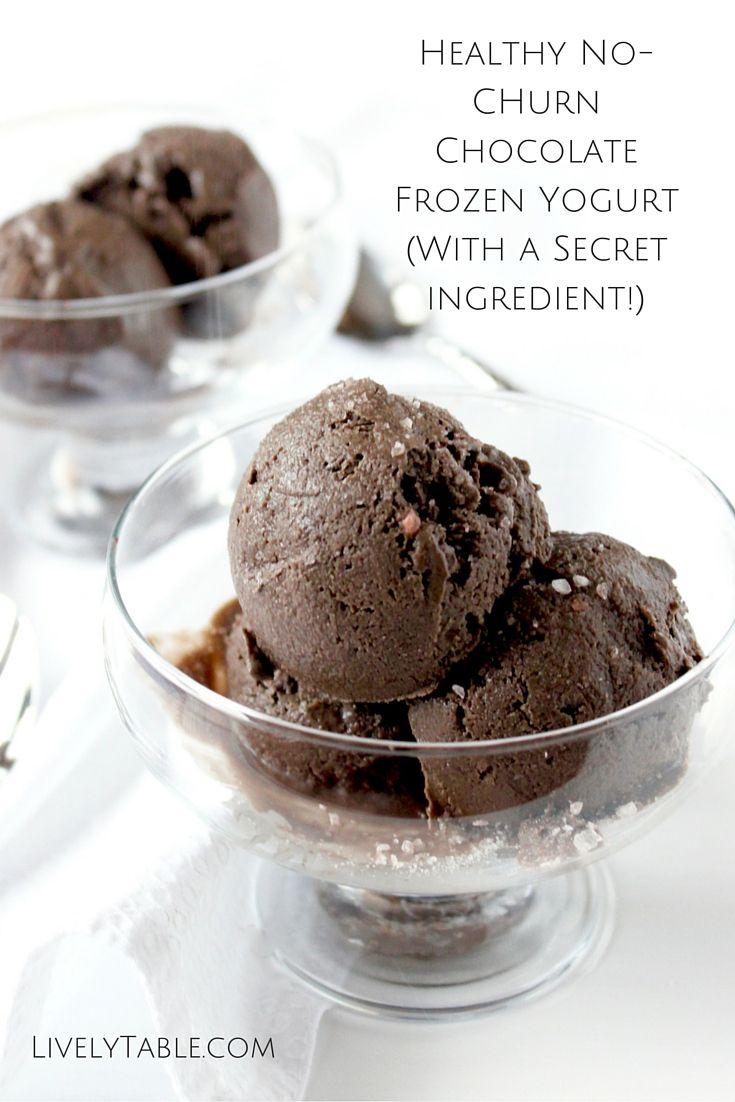 Dark Chocolate Frozen Yogurt | An extra creamy base of Greek yogurt (plus a SECRET ingredient!) makes this dark chocolate frozen yogurt a sweet and healthy treat! Plus it's easy to make-no churning required! (GF) | Via LivelyTable.com
