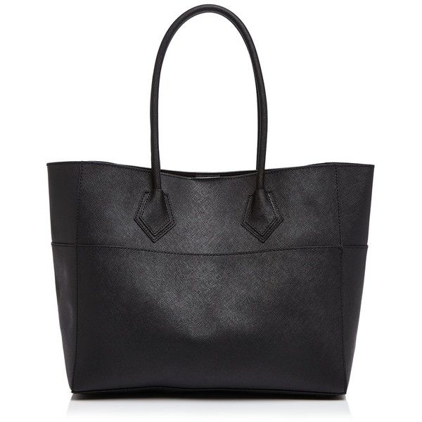 Rebecca Minkoff Tote ($195) ❤ liked on Polyvore featuring bags, handbags, tote bags, black, purses, totes, shopping tote bags, black handbags, black shopper tote and structured handbag