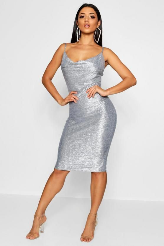 9af065a106 Metallic Strappy Cowl Neck Midi Dress - Boohoo party dress