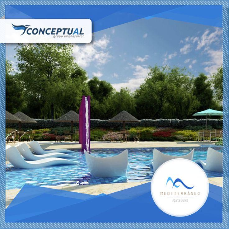 Mediterráneo Aparta Suites cuenta con piscina de adultos y niños, sendero ecológico, turco, gimnasio, juegos infantiles y mucho más.  Llámanos 411-44-39  Whatsapp: 312 237 10 58.