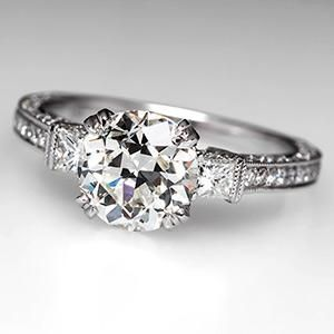1.86 Carat Conflict Free Old European Cut Diamond Engagement Ring in 18K White Gold