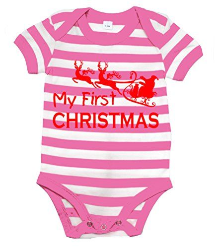 Pink & White Striped MY 1ST CHRISTMAS' with Red Print.