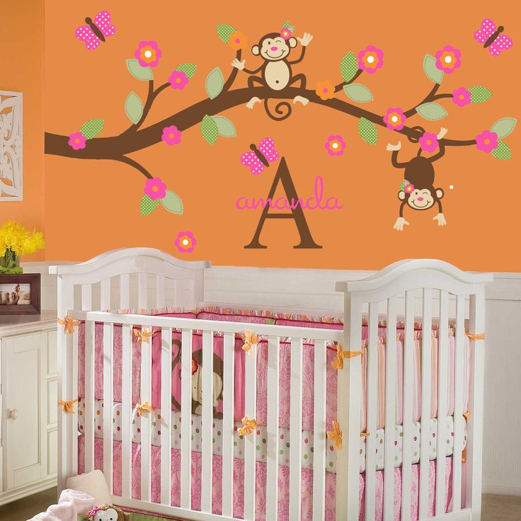 cute monkey bedroom decor for setting cheerful and soothing nursery room innovative wall mural inside - Monkey Bedroom Decor