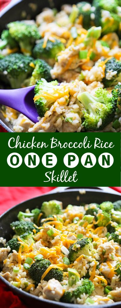 One-Pan Chicken Broccoli Rice Skillet | This recipe is super easy and NEEDS to be added to your week night rotation. SO DELICIOUS!