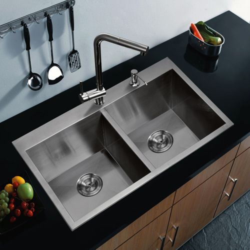 Premium Scratch Resistant Satin 33 Inch, Zero Radius Double Bowl Drop In Kitchen Sink With