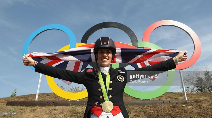 Charlotte Dujardin of Great Britain poses after winning the gold medal during the Dressage Individual Grand Prix Freestyle on Day 10 of the Rio 2016 Olympic Games at the Deodora Olympic Equestrian Centre on August 15, 2016 in Rio de Janeiro, Brazil.