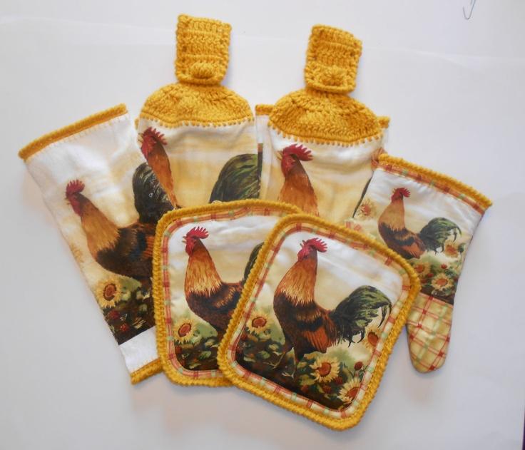 Kitchen Set, Rooster Towel Set, Hanging Towels Set. $18.00, via Etsy.