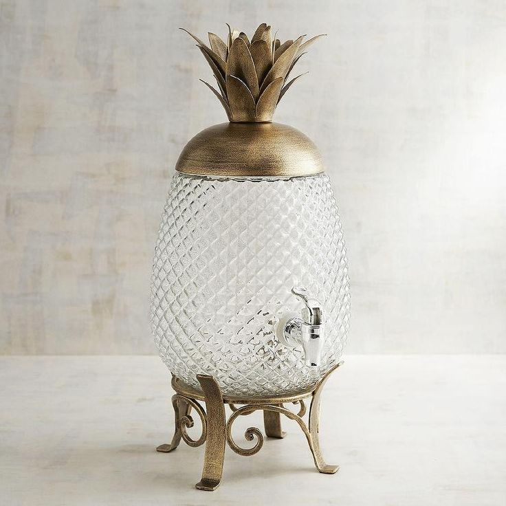 Gold Pineapple Glass Beverage Dispenser