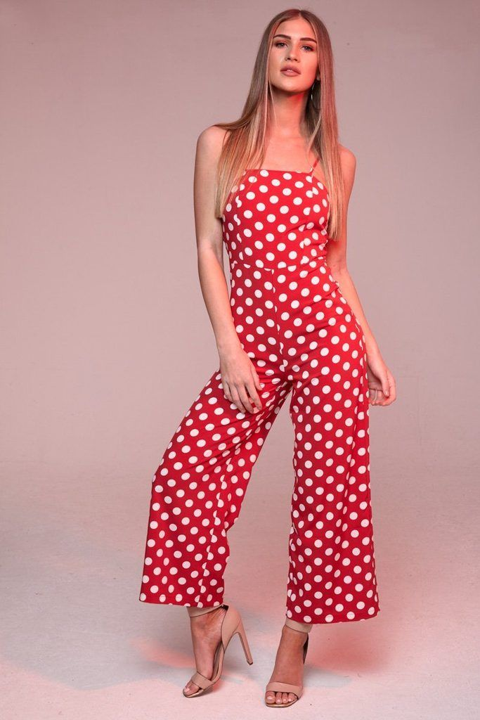87c1b7d7c55 Red Polka Dot Jumpsuit