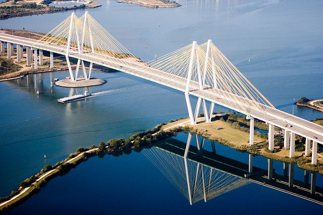 Fred Hartman Bridge - Baytown TX - The longest cable-stayed bridge in Texas replaced the Baytown Tunnel which went under the Houston Ship Channel.