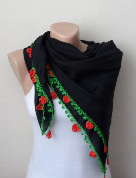black scarf red green scarf floral print scarf oya by DamlaScarf