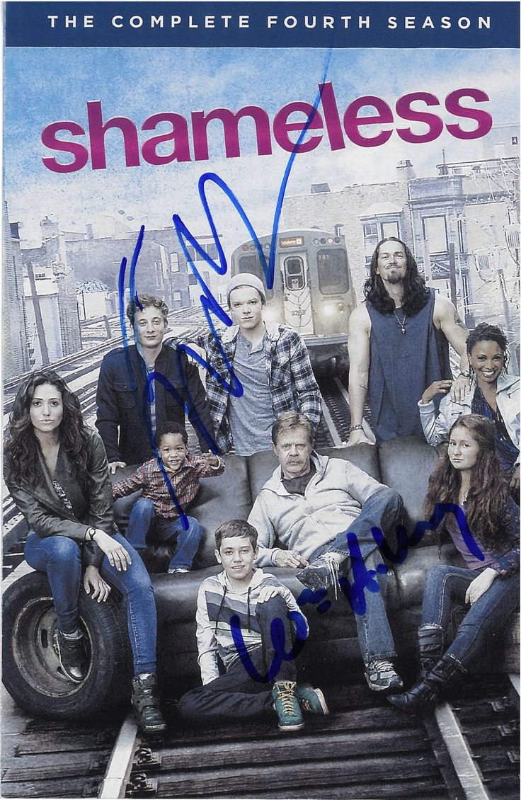 Shameless season 4 DVD insert signed by William H Macy (Frank Gallagher and Emma Kenney (Debbie Gallagher)