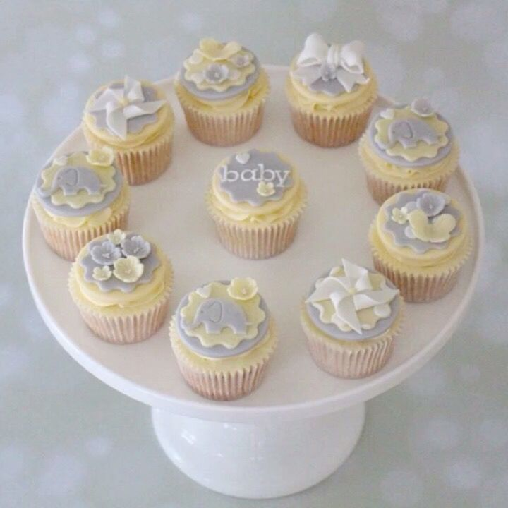 Pale grey and yellow elephant baby shower cupcakes www.cuppiesncream.co.uk