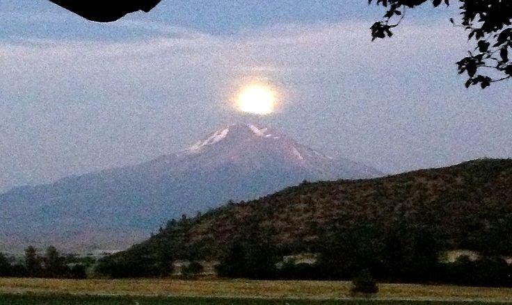 full moon over mt. shasta