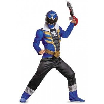 Boys Blue Power Ranger Costume with detail printed jumpsuit featuring muscle chest, torso and arms!