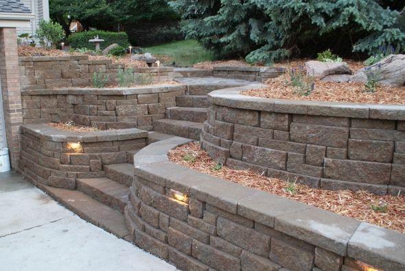 Retaining wall idea...love the stone