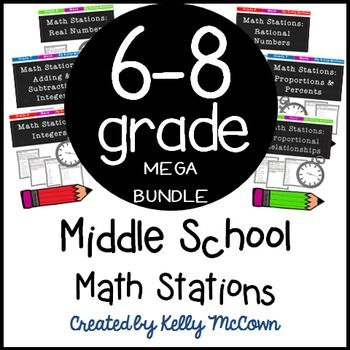 This Middle School Math Station MEGA Bundle is a COMPLETED BUNDLE covering ALL…