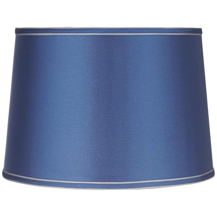 Sydnee Satin Medium Blue Drum Lamp Shade 14x16x11 (Spider)   Style # Y5654