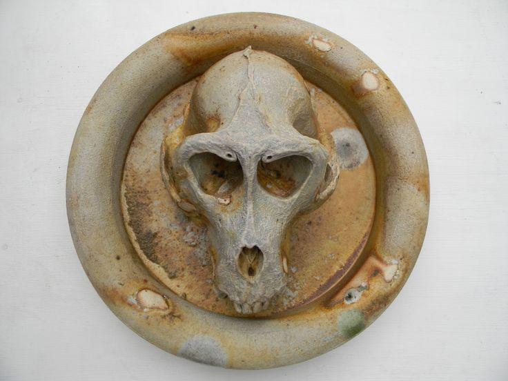 Macaca fascicularis, wood fired stoneware, Daniel Cavey