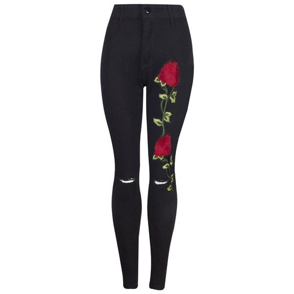 Women's Rose Embroidered High Waist Ripped Hole Denim Skinny Jeans... ($19) ❤ liked on Polyvore featuring jeans, pants, blue ripped jeans, blue ripped skinny jeans, distressed jeans, high waisted ripped jeans and high-waisted jeans
