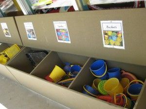 outdoor storage- good for loose parts, and for children to select materials and pack away