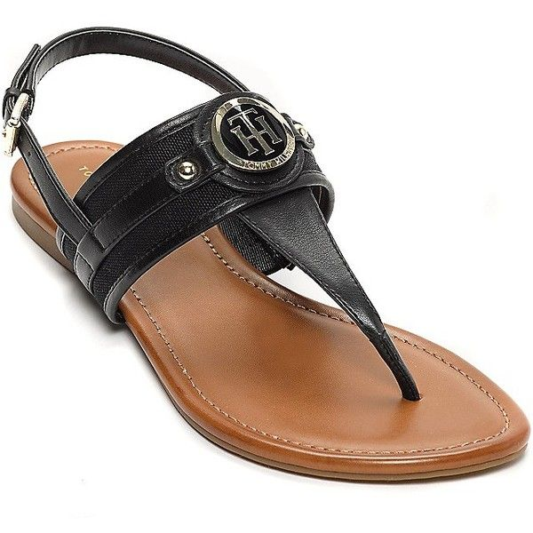 Tommy Hilfiger T-Strap Medallion Sandal ($49) ❤ liked on Polyvore featuring shoes, sandals, braided sandals, t-bar sandals, flat shoes, t strap flats and woven sandals