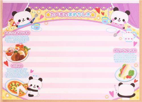 panda chef food memo pad for friends book Japan 8