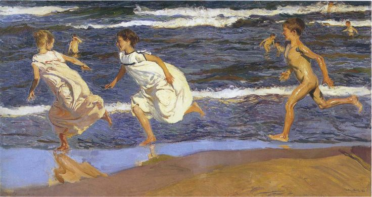 running-along-the-beach-1908 Joaquín Sorolla y Bastida (27 February 1863 – 10 August 1923) was a Valencian Spanish painter.