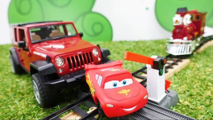 Toy cars and videos for kids. McQueen and Jeep. Toys for kids. McQueen i...