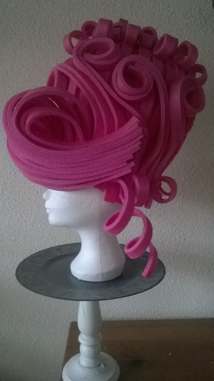 Pink Marie Antoinette wig made of foam. Made by lady Mallemour