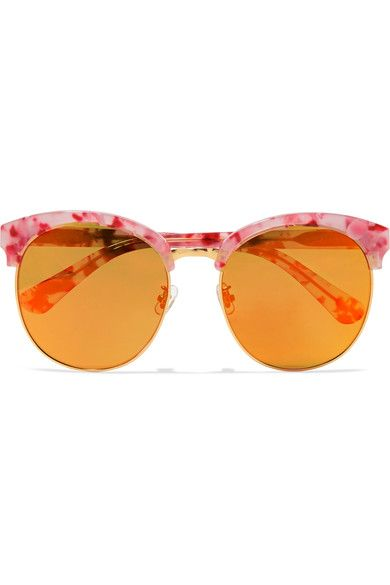 Gentle Monster - Deborah Cat-eye Gold-tone And Acetate Mirrored Sunglasses - Orange - one size