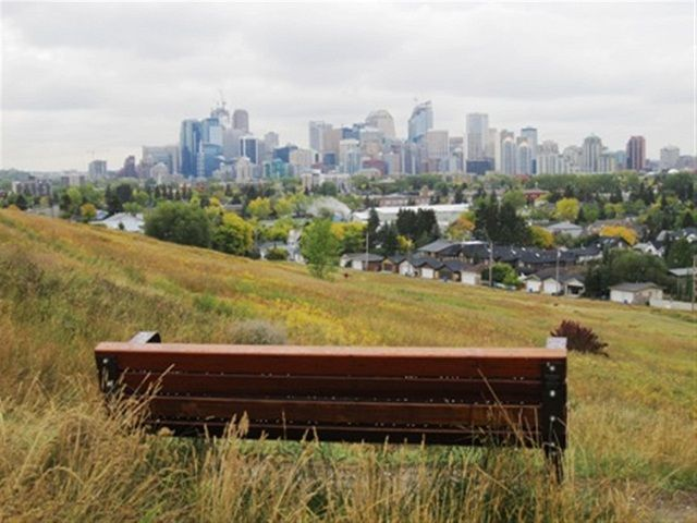 Beautiful Kayu Benches overlooking Calgary Downtown.   Supplied by Kayu Canada Inc. #yyc #downtown #skyline
